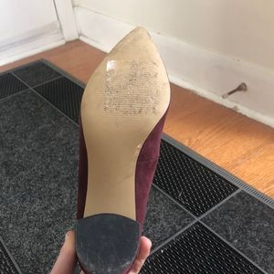 Expression Shoes - **must go!**  Wine coloured block heels